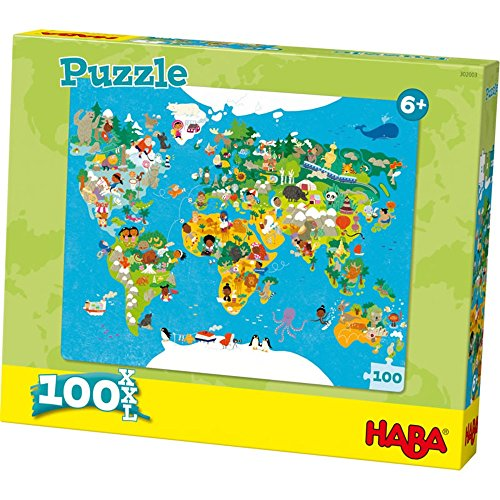 Bean 302003 100piece (s) Puzzle - Puzzle (Jigsaw Puzzle, Maps, Children, World Map, 6 year (s), Cardboard)