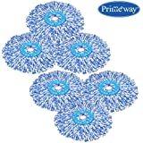 Primeway® Extremely Absorbent Premium Microfibre Mop Head Refill, Dia: 38cm, 130 Grams, Blue/White, Pack of 6