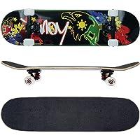 FunTomia® - Skateboard con Cuscinetti Mach1® - Ruote a Profilo scanalato (100A) - Legno d'Acero Canadese a 7 Strati