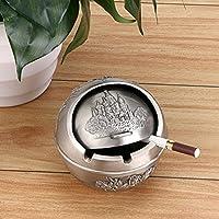 Btsky vintage posacenere antivento con coperchi–Metallo castello modello da tavolo posacenere sigaretta Cigar Ash Holder per uso esterno e interno Silver