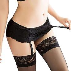 MERICAL Damen Lace Top Oberschenkel Strümpfe Socken + Strumpfhalter Strumpfband