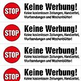 4x5 Keine Werbung Aufkleber, auf weißer Folie, gleiche Aufdrucke - Keine kostenlosen Zeitungen, Handzettel, Wurfsendungen und Wochenblätter! immi.de®