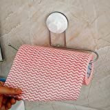 Toku Stainless Steel + Plastic Paper Roll Holder with Power Suction Cup Size- 26.5x7.5x1(White)
