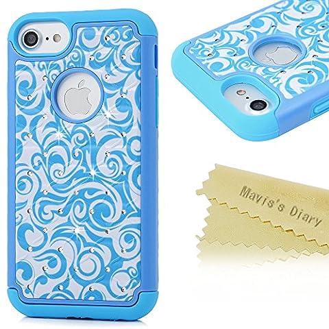 Mavis's Diary Coque iPhone 7 TPU&PC 2 en 1 Bling Strass Motif Dessin Bleu Housse de Protection Étui Téléphone Portable Phone Case Cover+Chiffon
