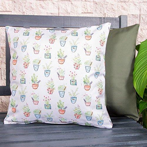 Gartenkissen Sitzpolster – 43cm x 43cm – Wasserabweisend mit einer Textilfaserfüllung – Dekoratives Zierkissen für Gartenbänke, Stühle oder Sofas (1, Kräutergarten Grün)