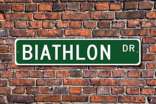 CELYCASY Biathlon Biathlon Geschenk Biathlon Langlauf Skifahren Gewehrschießen Geschenk Biathlon Custom Street Sign Qualität Metallschild