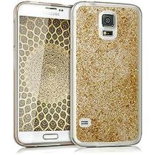 kwmobile Funda para Samsung Galaxy S5 / S5 Neo / S5 LTE+ / S5 Duos - Case para móvil en TPU silicona - Cover trasero Diseño Escamas brillantes en oro transparente
