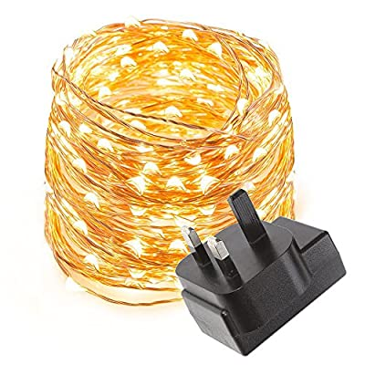 LE Waterproof 10 Meters 100 LED Copper Wire Lights, Power Adapter Included, Fairy Starry String Lights, Warm White, Rope Lights for Party, Wedding, Garden, Festival - cheap UK light store.