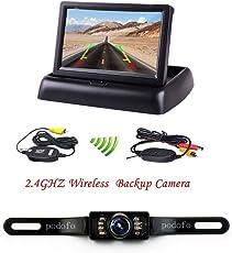 "Rückfahrkamera Podofo® 4.3"" Faltbarer Drahtloser Auto Rückansicht TFT LCD Monitor mit wasserdichter Nachtsicht Parken Rückfahrkamera Installationssatz"