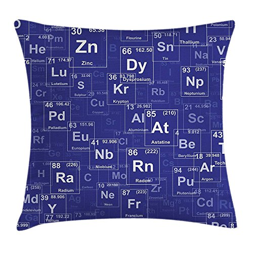 KLYDH Periodic Table Throw Pillow Cushion Cover, Chemistry Elements in Abstract Style Science Classroom Backdrop, Decorative Square Accent Pillow Case, 18 X 18 Inches, Royal Blue and White Royal Blue Round Table Cover