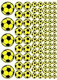 100 Aufkleber, Fußball, Sticker, 15-50 mm, gelb/schwarz, aus PVC, Folie, bedruckt, selbstklebend, EM, WM, Bundesliga