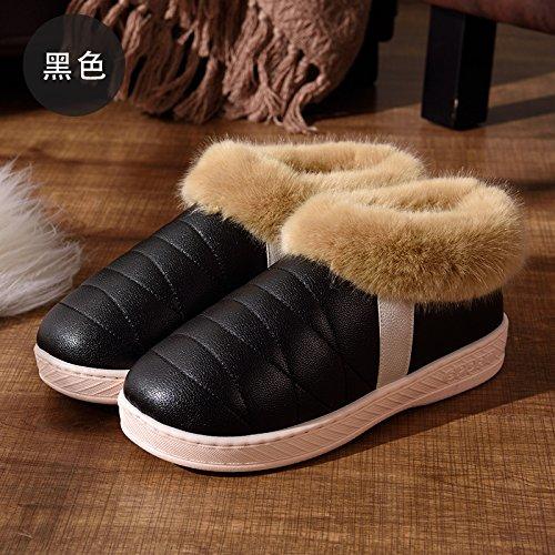 DogHaccd pantofole,Autunno Inverno uomini e donne paio di pantofole di cotone di spessore a caldo con anti-skid pacchetto di soggiorno in un lussuoso scarpe di cotone 9 nero1