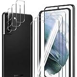 ELYCO [6-pack] för Samsung Galaxy S21 Plus skärmskydd + kameralinsskydd, 9H hårdhet reptåligt härdat glas, enkel installation