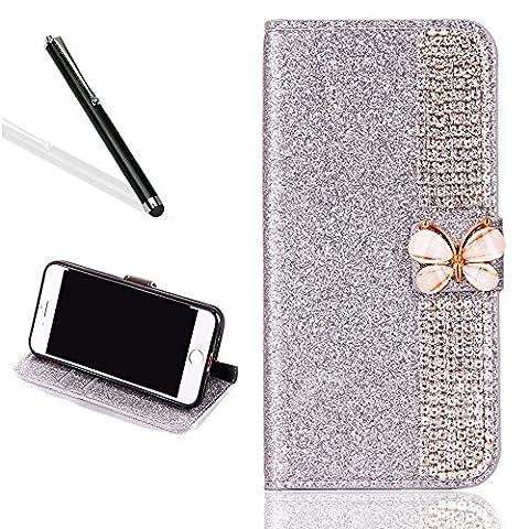 Diamant Coque Etui pour iPhone 6S Plus,Portefeuille Brillant Housse pour