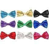 Feelava Papillon di Paillettes 7 Pezzi Regolabile Cravatta a farfalla Glitter Bow Tie Gi/à Annodato Uomo Donna Bambino Papillon per Fancy Costume Party Accessorio