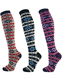 RJM Ladies Womens 3 Pairs Fairisle Design Cotton Rich Knee High Socks SK238
