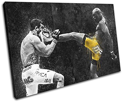 Bold Bloc Design - Anderson Silva UFC MMA Grunge Sports 60x40cm SINGLE Leinwand Kunstdruck