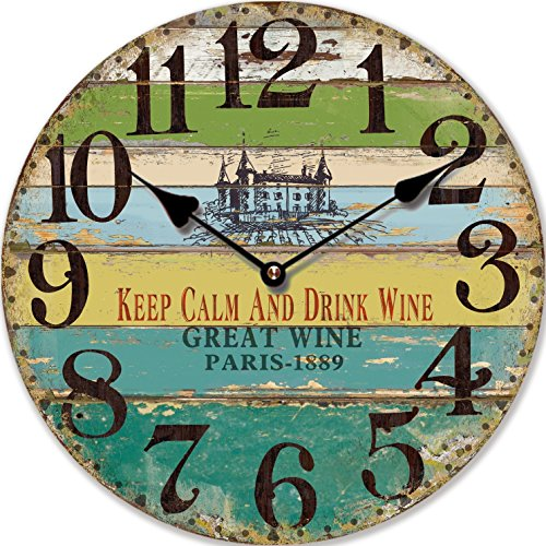 Orologio da parete design keep calm and drink wine retondo nostalgia - tinas collection