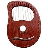 Harpe 16 Cordes Portable Acajou Sculpté À La Main Instrument Niche Grecque Lyre Harpe Lyre