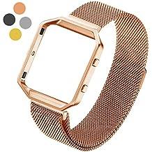 Fitbit Blaze Bracelet de Remplacement, Hanlesi Milanese Acier Inoxydabl Bracelet en Métal avec Aimant Unique Bande de Verrouillage pour Fitbit Blaze