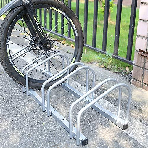 HENGDA  Fahrradständer, Für 3 Fahrräder, verzinkt Stahl, Boden- und Wandmontage,  Fahrradhalter Radständer, LBH: ca. 70.5 x 32 x 26 cm, Silber -