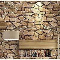 H&M Papel pintado PVC retro 3D estéreo imitación piedra textura papel pintado decoración dormitorio TV pared salón papel tapiz -53 cm (W) * 10 m (L) , yellow
