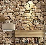 H&M Papel pintado PVC retro 3D estéreo imitación piedra textura papel pintado decoración dormitorio TV pared salón papel tapiz -53 cm (W) * 10 m (L) ,
