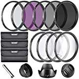 Neewer® 67MM Complete Lens Filter Accessory Kit for Lenses with 67MM Filter Size: UV CPL FLD Filter Set + Macro Close Up Set (+1 +2 +4 +10) + ND Filter Set (ND2 ND4 ND8) + Other