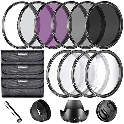Neewer® 67MM Filtre Kit: UV CPL FLD Filtre Set + Macro Close Up Set (+1 +2 +4 +10) + Filtre ND Set (ND2 ND4 ND8) + Autres accessoires