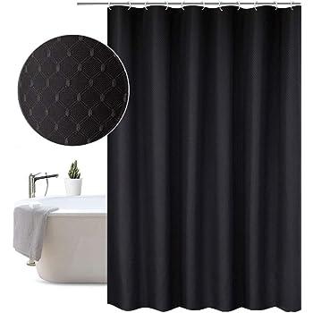 Extra Long Wide Shower Curtain 200 X 210cm DropSolid Dark Grey Waffle Pattern