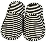 iTemer Indoor-Pantoffel Rutschfeste Hausschuhe Baumwollfasern Streifen Muster Pantoffeln Reise tragbar Kann gefaltet werden