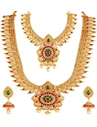 Apara Copper Bridal South Indian Traditional Necklace Jewellery Set Combo For Women