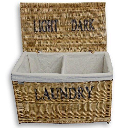 Homescapes Laundry Wäschesortierer 2 Fächer Wäschekorb Weide Wäschesammler rechteckig mit Deckel Wäschetruhe Hamper Natur
