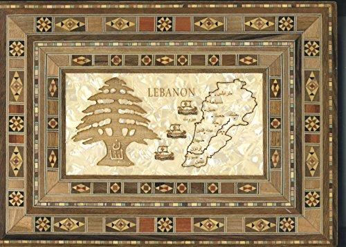 Dekorative Aufbewahrungsbox aus Holz–Libanon Karte & Major Städte + Zeder