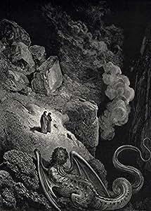 """GUSTAVE DORÉ """" Cette chimère hideuse de fraude s'est approché de nous """" de l'Enfer de la Divine Comédie de Dante. Environ 1860 - Sur Format A3 Papiers Brillants de 250g. Affiches de Reproduction"""