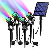 【4 Pièces】Lampe Solaire Jardin T-SUN Lampe Solaire Exterieur Jardin Lumière Solaire Extérieure Etanche LED Spot Solaire Extér
