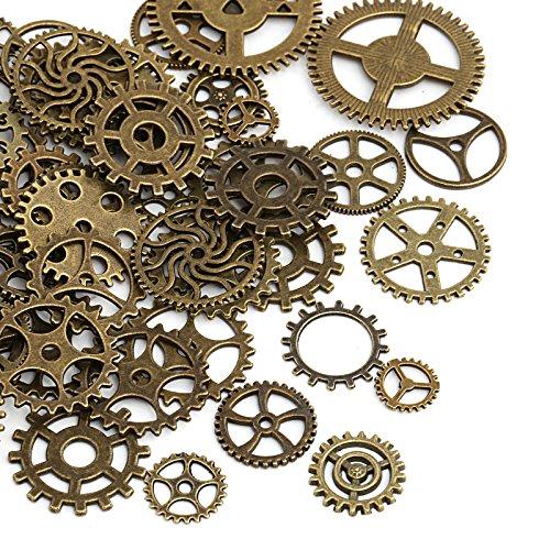 Naler 80 Stk. Zahnräder Steampunk Metall für Schmuck Basteln Kostüm (Bronze)