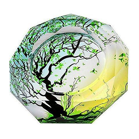 Creatwls Vert Wish Motif d'arbre de vie cristal Cendrier, Ash support portables, Home Office Belle Décoration, forme ronde
