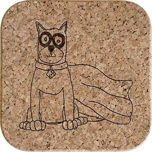 Azeeda 4 x 'Superheld Hund' 10cm Quadratische Korkuntersetzer ()