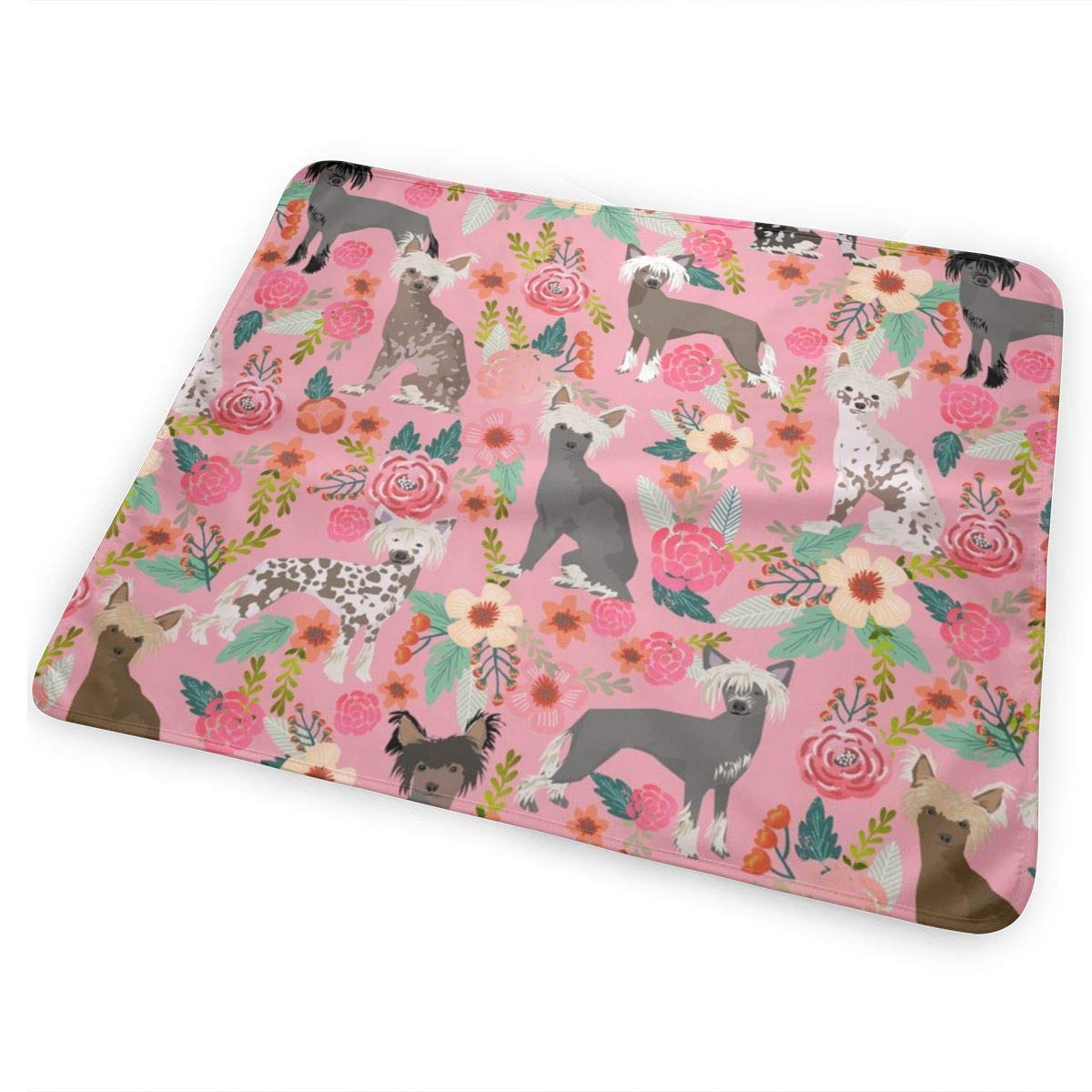 """Chinese Crested Dog Cute Pink Florals Flowers Dog Fabric Girly Sweet Hairless Dogs Baby Portable Reusable Changing Pad Mat 25.5""""x 31.5"""""""