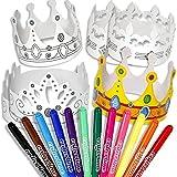 geburtstagsfee Kinder-Kronen Malset mit 6 Krönchen und 12 Filzschreibern für Prinzessin-Party