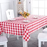 Asvert Mantel de Mesa Rectangular 140 x 220cm de Estilo Rústico para Comedor Cocina Restaurante y Bar, Rojo