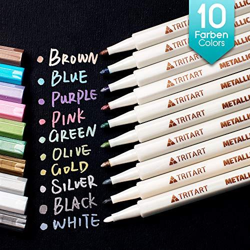 Tritart Profi Metallic Stifte Set für Fotoalbum - Scrapbook - Glatte Oberflächen | 10 Metallic Marker Pens (Stifte Mit Tinte Türkis)