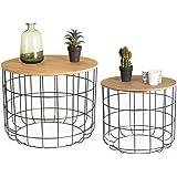 LIFA LIVING Okrągłe stoliki kawowe, zestaw 2 szt, 2 stoliki pomocnicze z czarnego metalu i drewna MDF, styl vintage i przemys