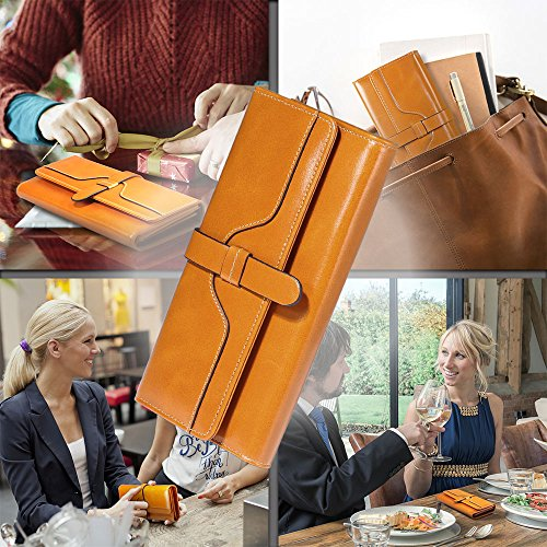 Damen Geldbörse, Gewachstes Echtleder, RFID Schutz - 5