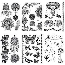Pinkiou Packung mit 6 Blatt Tätowierung Aufkleber Spitze Mehndi temporäre Tattoos Mode Körper Kunst Aufkleber (schwarz)