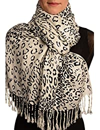 Black Diagonal Leopard On White Pashmina Feel With Tassels - Blanc ?charpe Taille Unique - 70cm x 180cm
