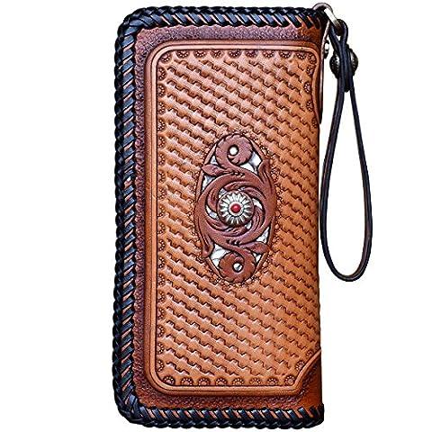 OLG.YAT® Pflanzlich gegerbtes Leder Geldbörse Portemonnaie Börse Brieftasche Handgefertigt Retro 20.5*10.5*4cm OLG-WL20LKDH3
