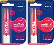 NIVEA Lip Crayon, COLORON Hot Pink, 3g and NIVEA Lip Crayon, COLORON Pop Red, 3g