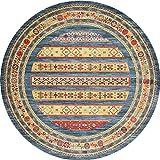 Alfombra Redonda Americana Retro Sala de Estar Dormitorio Alfombra Junto a la Cama Nordic Sencilla Alfombra turca de Estilo Turco SPFOZ (Color : D, Size : 100CM)